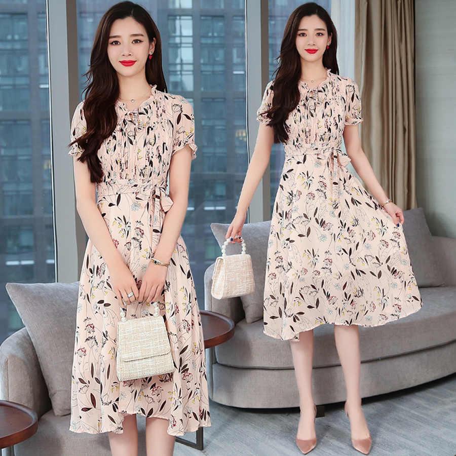 f5d643ad0f9ab Summer Korean Plus Size Pink Boho Sexy Dress 2019 Vintage Floral ...
