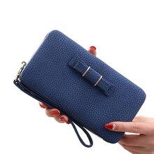 Цветной кулон с бантом из искусственной кожи, длинный Повседневный женский бумажник с бантиком, кошелек для монет, дамская сумочка, дневной клатч, 505