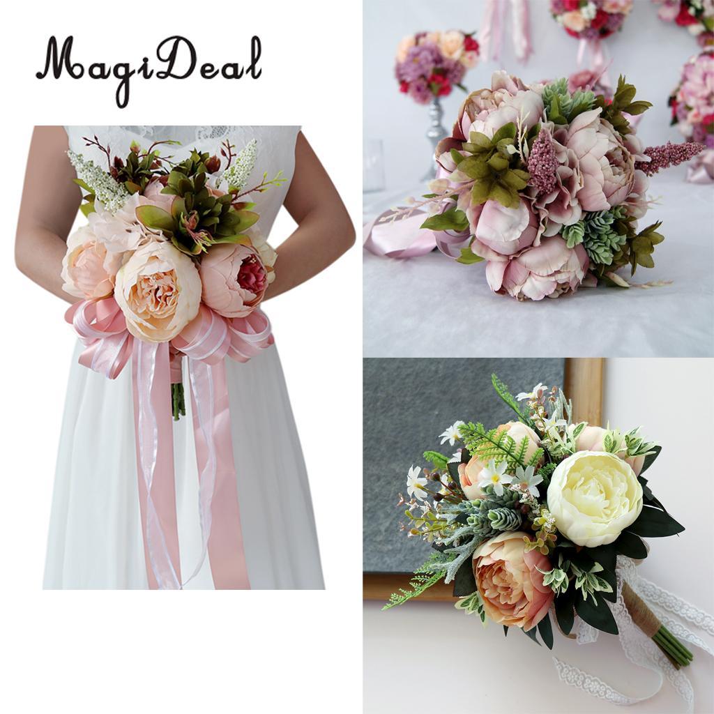 MagiDeal Romantic Penoy Flower Wedding Bridal Bouquet Hand Holding Flower 1/2/3 Craft for Brides Bridesmaids Flower Girls Decor