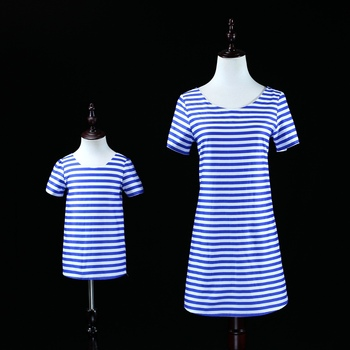 Brand children clothes mother girls infant navy stripes dress kids Summer party dress mom and daughter dress family look outfits