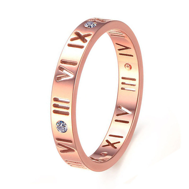 3MM Silver/Rose Gold Plated Stainless Steel Ancient Roman Numerals Ring Mens Wedding Band Fashion Couples Rings