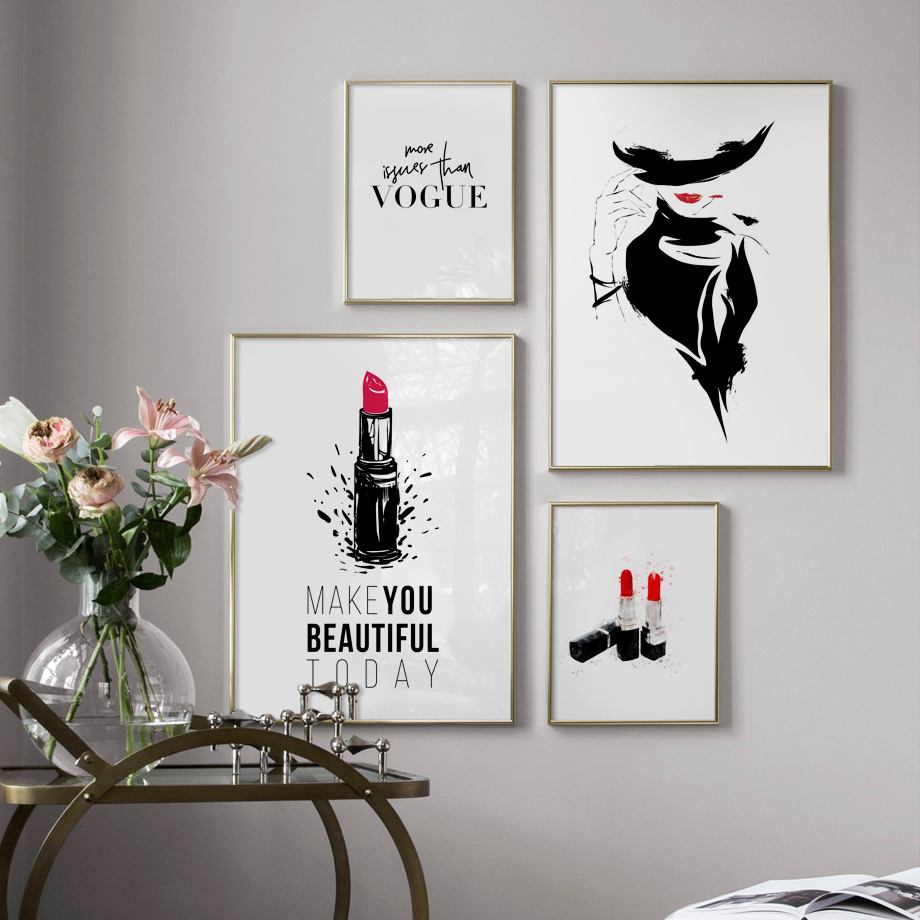 Fashion Hat Girl Red Lipstick Wall Art Canvas Painting Watercolor Nordic Posters And Prints Wall Pictures For Living Room Decor in Painting Calligraphy from Home Garden