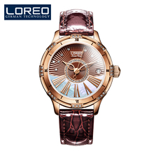 LOREO traditional luxurious hole waterproof automated mechanical leather-based scratch resistant blue diamond coated mirror vogue watch