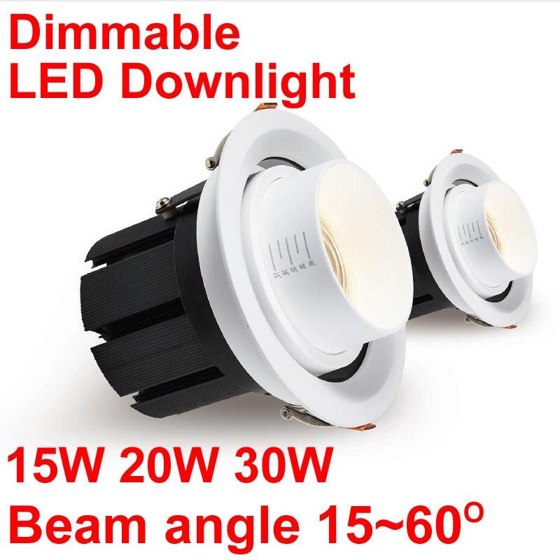 Nový stmívatelný bodový LED svítidlo 15W 20W 30W Zvětšení zaostření Led Spot Spot Light Museum Galerie Oblečení Store Lighting 110V 220V