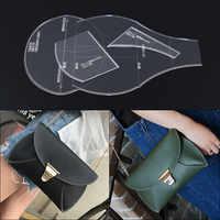 1 Set Handmade Shoulder Bag Handbag Template Clear Acrylic Leather Sewing Pattern DIY Hobby Sewing Stencils 26*16*2cm