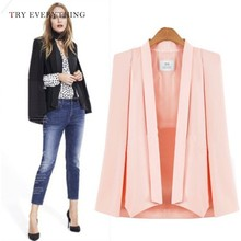 цена на Black Blazer Jacket Women Long Cape Blazer Jacket Famle Coat White Jacket Long Sleeve Pink Blazer Woman 2019 Spring Blazers