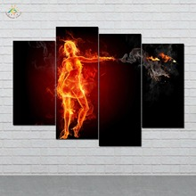 Hot Babe on Fire Wall Art HD Prints Canvas Art Painting Modular Picture And Poster Canvas Painting Decoration Home 4 PIECES