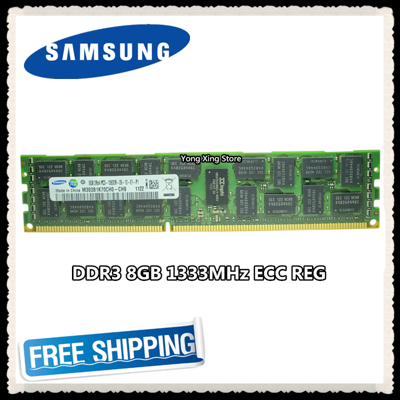 <font><b>Samsung</b></font> <font><b>DDR3</b></font> 8GB 16GB server memory 1333MHz <font><b>ECC</b></font> <font><b>REG</b></font> <font><b>DDR3</b></font> PC3-10600R Register RDIMM RAM 240pin 10600 8G X58 X79 motherboard use image
