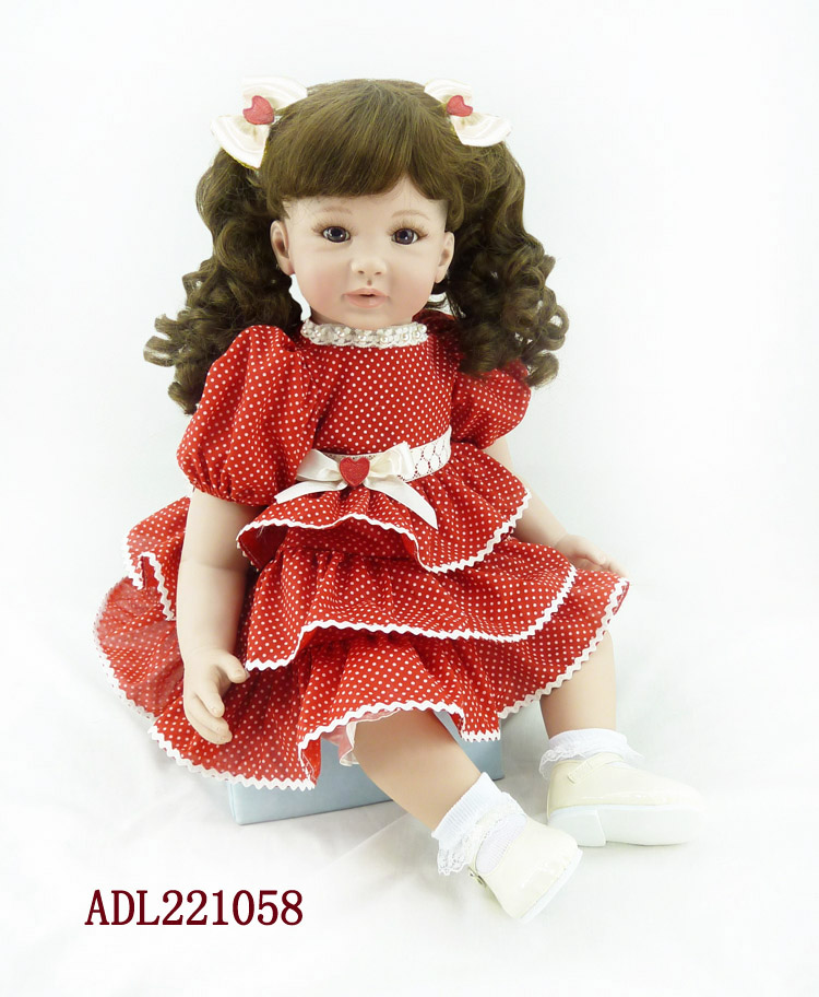 New 22 Adora Reborn Toddler Doll with Red Layered Dress High Quality Princess Girl Doll Toy Gifts Fashion Dolls Toys For Girls pink wool coat doll clothes with belt for 18 american girl doll