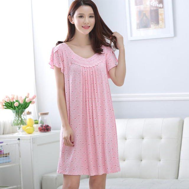 female models Spring and Autumn Korean short-sleeved modal princess  nightgown summer women free shipping home 50eef9b0e645