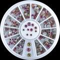 2016 nova 200 PCS 3 tamanho Nail Art decoração Dazzling Multicolor Crystal Clear prego Glitter pedrinhas roda prego beleza NA1199