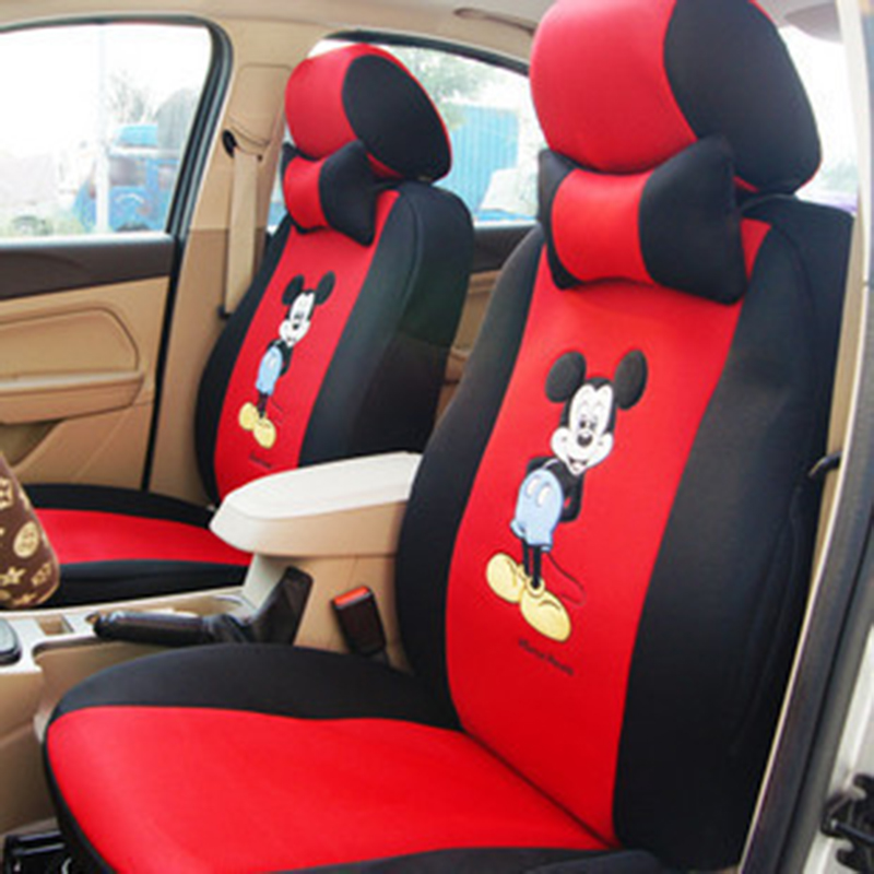 12pcs Cartoon Car Seat Cover Universal Size Sandwish Auto Seats Protector Breathable Interior Cushion Accessories for Girls(China)