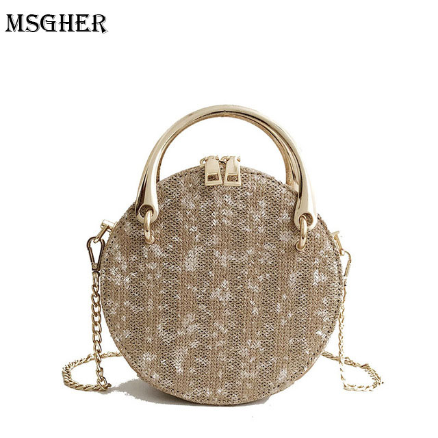 M.S Dot Bohemian Handle Straw Round Bags Panelled Knitting Women Crossbody Bags Mini Circular Totes Casual Beach Handbags SW073