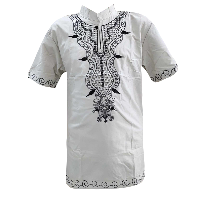 Muslim Mens Craft Embroidery T-Shirt Nuttiness Stylish Short Caftan Tops