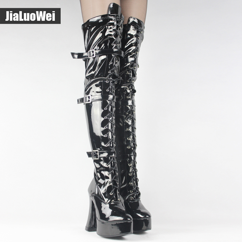 Jialuowei Halloween Fashion Sexy Women's 4.5 Inch High Heel Platform Over-the-Knee High Boots hook lace up and side zip Boots подвесная люстра reccagni angelo l 9250 6