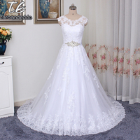 A Line Applique Lace Removable Beading Sash Wedding Dress Reals Bridal Gowns Vestido De Noiva Princesa