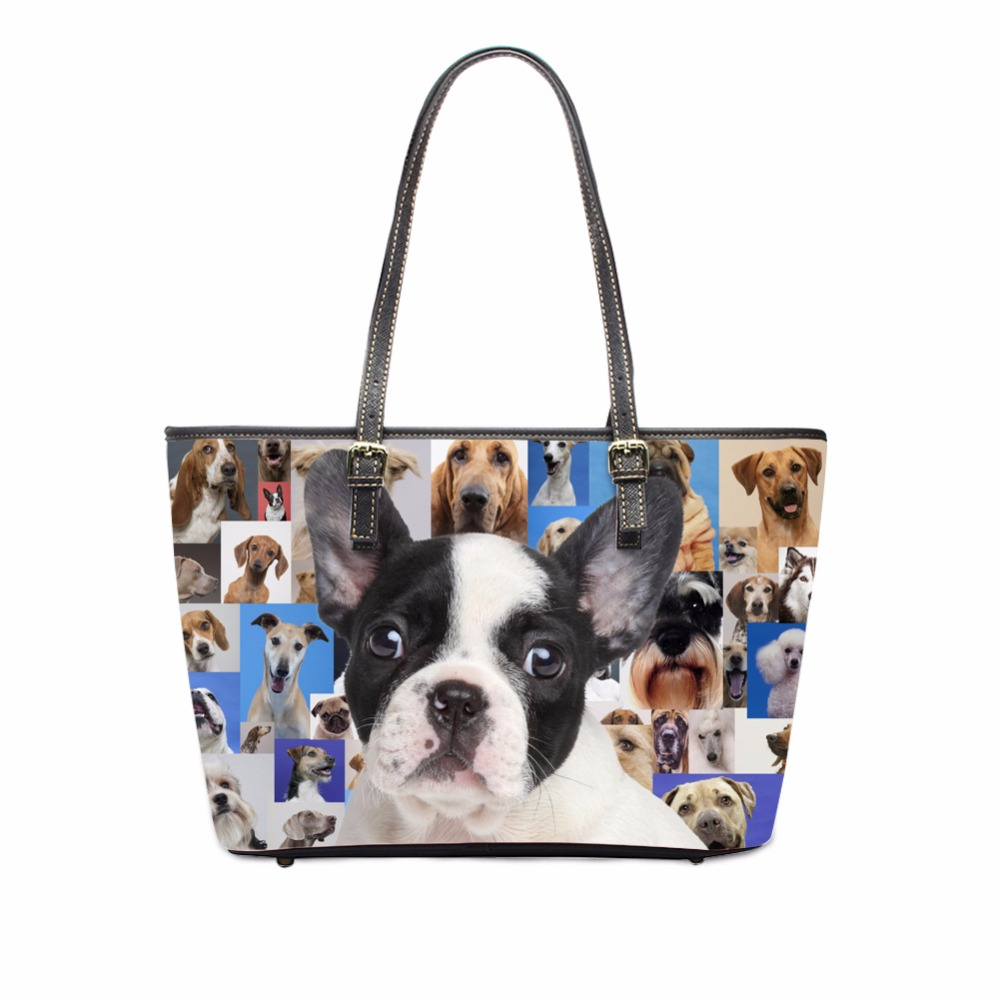 FORUDESIGNS High Quality Women PU Leather Handbags Big Capacity Ladies Shoulder Bag 3D Boston Terrier Dog Cross-body Tote Bolsas