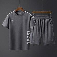 الصيف الرجال ملابس رياضية مجموعات رياضية الذكور أبلى إلكتروني طباعة زائد حجم 5XL الرياضية دعوى 2 قطعة مجموعة رجل جولة طوق الركض أوم