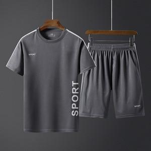 Image 1 - Летние мужские спортивные комплекты, тренировочный костюм, мужская верхняя одежда с буквенным принтом, большой размер 5XL, спортивный костюм, комплект из 2 предметов, мужской спортивный костюм с круглым воротником