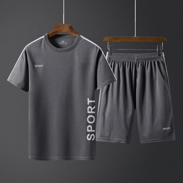 Летние мужские спортивные комплекты, тренировочный костюм, мужская верхняя одежда с буквенным принтом, большой размер 5XL, спортивный костюм, комплект из 2 предметов, мужской спортивный костюм с круглым воротником