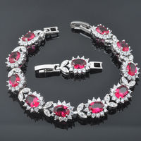 FAHOYO Rose Red Stone Cubic Zirconia For Women 925 Silver Jewelry Link Chain Bracelet 7 8
