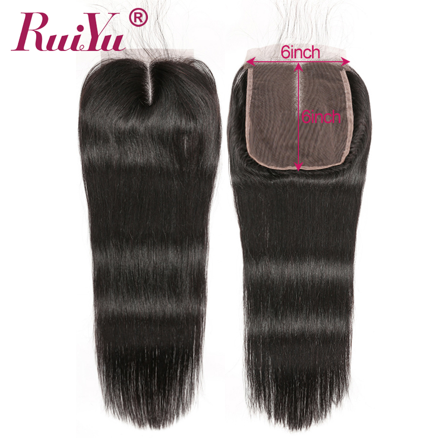 RUIYU 6x6 Lace Closure Brazilian Straight Human Hair Swiss Lace Closure Pre Plucked With Baby Hair Natural Hairline Remy Hair-in Closures from Hair Extensions & Wigs    2