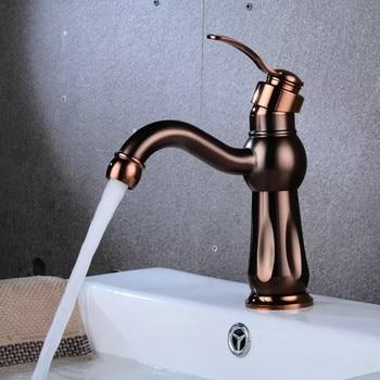 LIUYUE Basin Faucets Brass Brown Mix-color Low Bathroom Curved Beak Basin Faucet Cold Hot Water Crane Mixer Taps Torneira