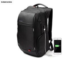 Kingsons de la marca mochila portátil de 15.6 pulgadas mochila portátil impermeable para hombres mujeres cargo usb externo ordenador bolsa antirrobo