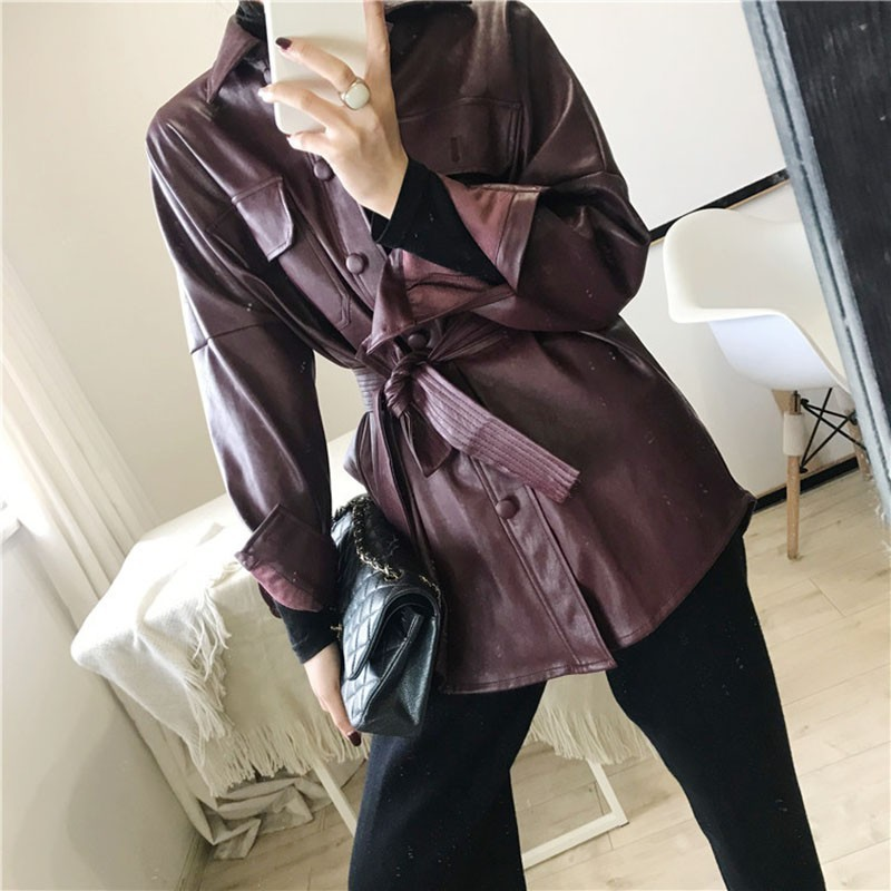 Autumn loose Adjustable Waist   Leather   Jacket women New Pocket Waist Belts Pu   Leather   Jacket jaquetas couro Temale PY39