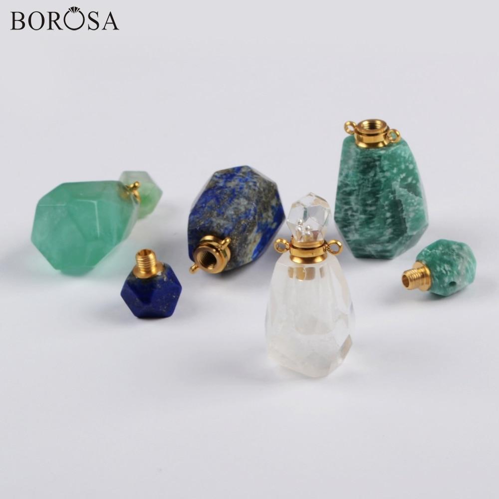 BOROSA Jewelry 4PCS Perfume Bottle Shape Natural Multi-Kind Stone Quartz Connectors Gems Double Charms for Necklace DIY WX1170