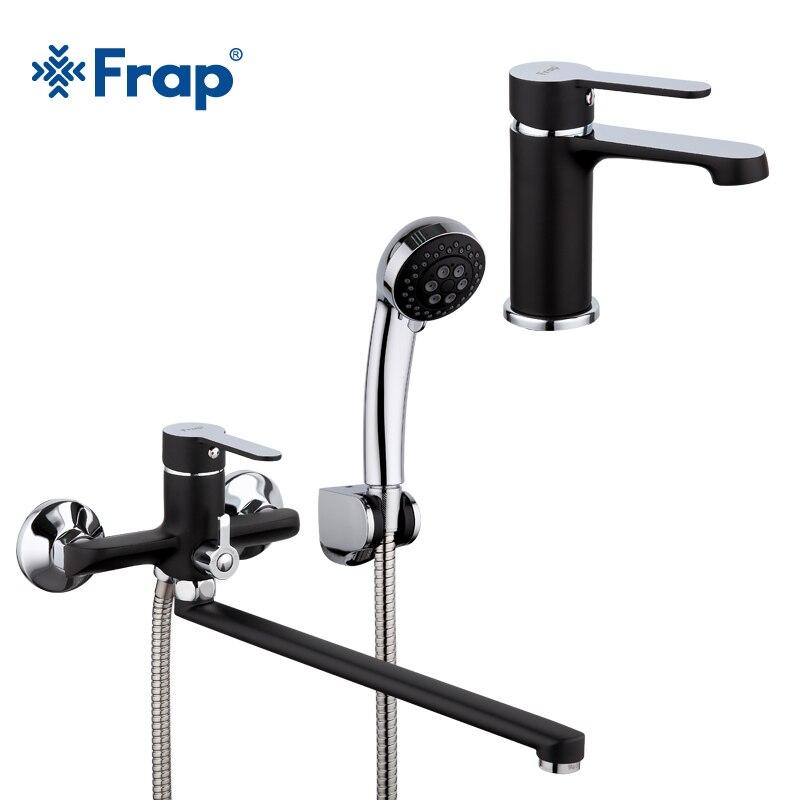 Frap nouveau noir 340mm sortie tuyau baignoire robinet de douche avec baignoire bassin robinets set mélangeur d'eau froide et chaude F2242 + 1042