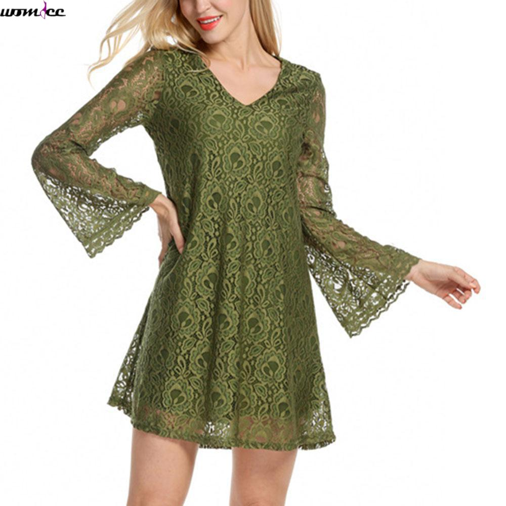 Buy Cheap Womdee Green Plus Size Flare Sleeve Lace Dress Women Sexy V-Neck Evening Party dress Summer Spring Vintage mini Dresses female
