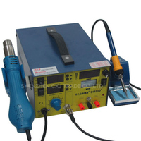 Free Ship Saike 909D+ 3 in 1 Heat Air Gun Solder Iron Soldering Station + DC Power Supply Welding Solder Repair Station
