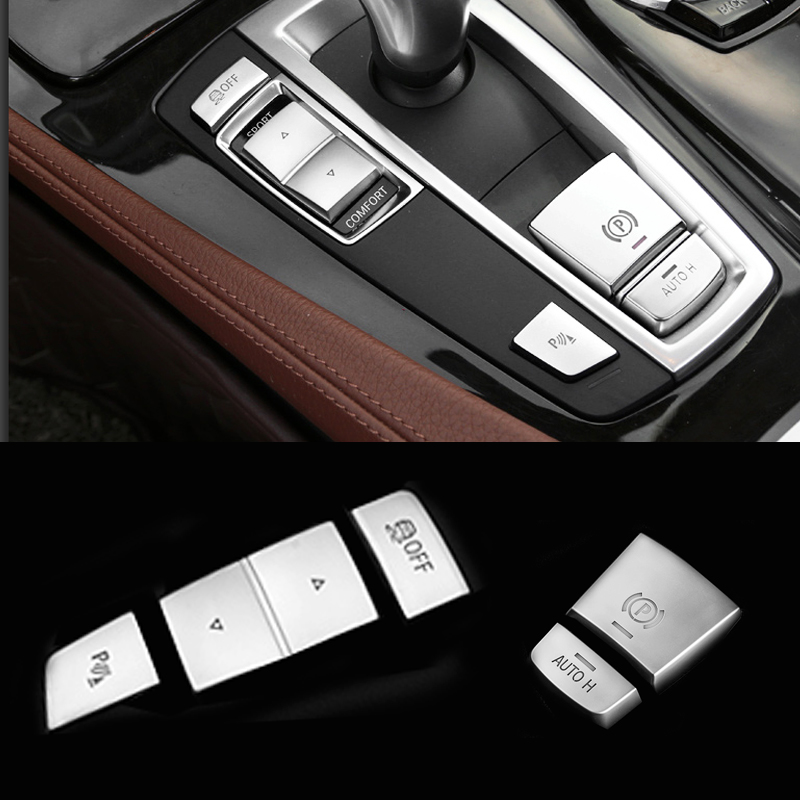 Chrome ABS central handbrake auto H P button left side decorative cover trim sticker accessories for BMW 5 6 7 series F10 F07 GT ...