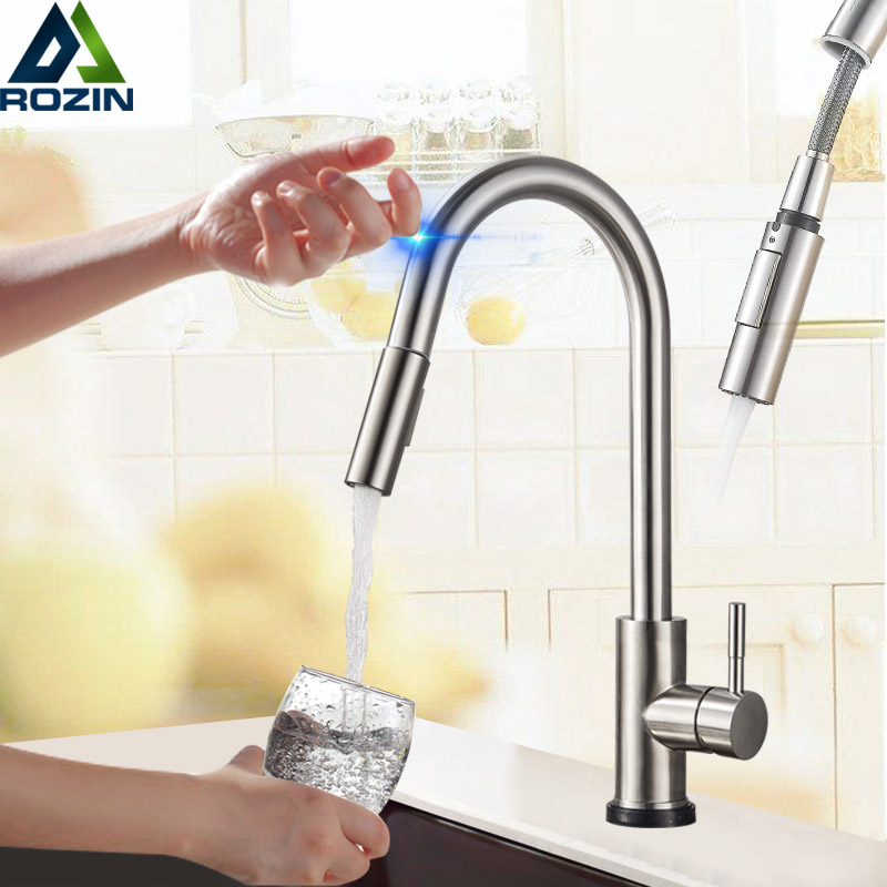 touch sensitive kitchen faucet stainless steel touch kitchen faucet pull out 22387