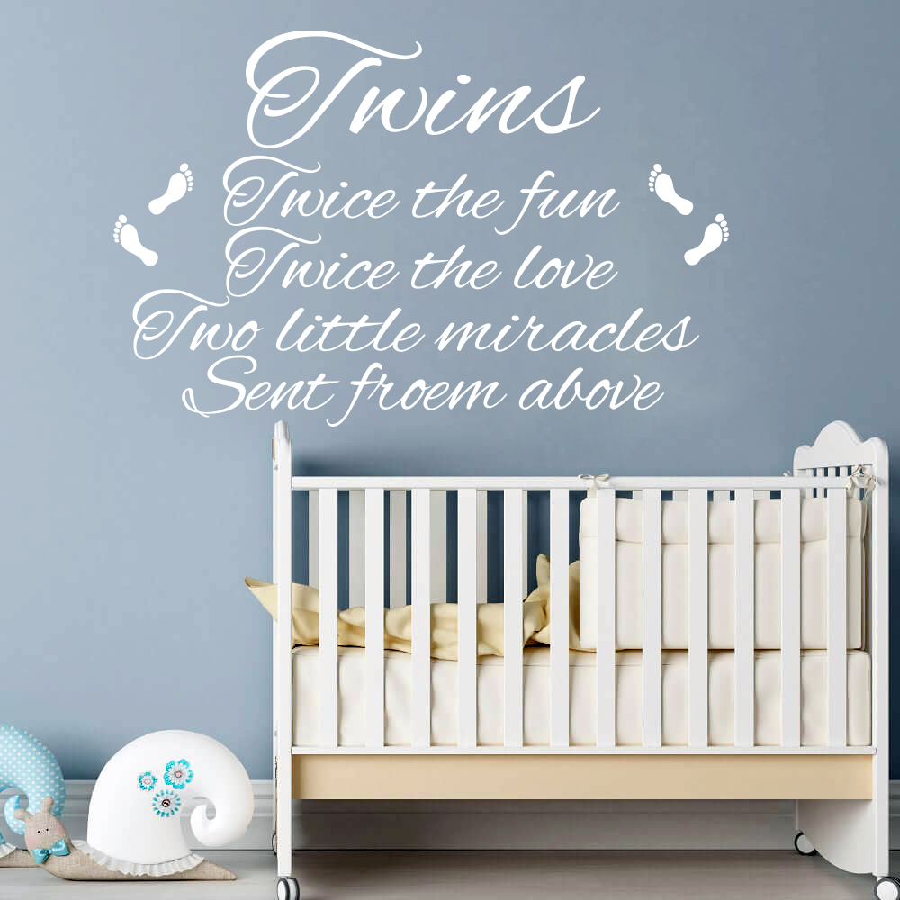 Us 9 09 15 Off Twins Wall Sticker Nursery Bedroom Twice Fun Love Two Miracles Inspirational Quote Footprint Decal Kids Living Room Vinyl In