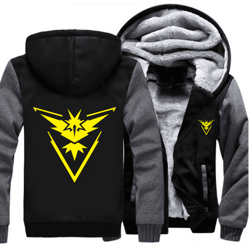 USA size Pokemon Go Team Valor Team Mystic Team Instinct Cosplay Jacket Sweatshirts Thicken Hoodie Zipper Coat