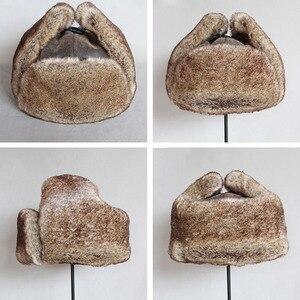 Image 5 - כובעי מפציץ חורף גברים חם רוסית Ushanka כובע עם אוזן דש עור מפוצל פרווה הצייד כובע Earflap