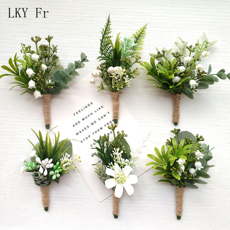 LKY Fr Boutonniere Corsage Pin Flowers Green Forest Wedding Boutonniere Buttonhole Men Wedding Planner Marriage Corsages Brooch