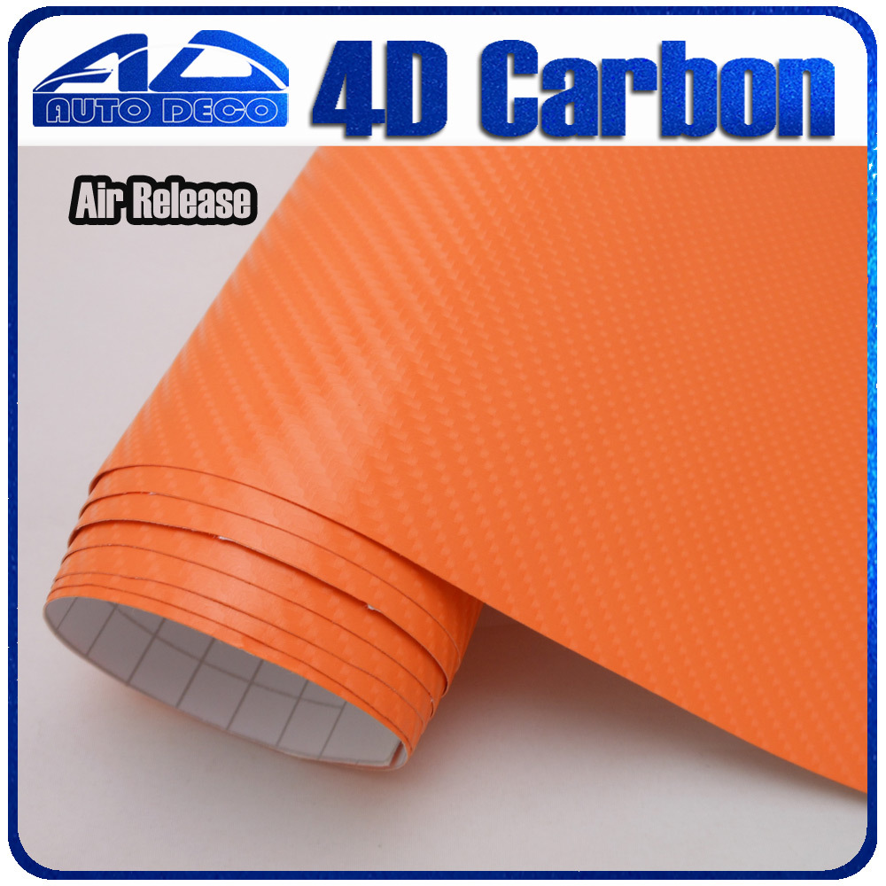 Wholesale 4d Carbon Fiber Vinyl Orange Carbon Sticker Film For Car Wrapping With Bubble Free FedEx Free Shipping 30m/roll limited sales 3mx50cm 118 x20 4d carbon fiber vinyl film sticker wrapping decal bubble free black for car truck suv body