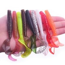 5Pcs Wobbler Jigging 8cm 4.3g curly tail Fishing Lure Soft Worm Shrimp silicone bait Fish crankbait  Ocean Rock fishing tackle