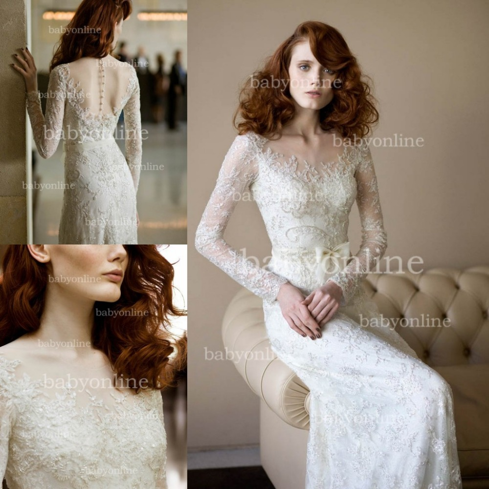 aliexpresscom buy bo2703 new design lace v neck long sleeves lace wedding dress see through corset wedding dresses from reliable dresses coat suppliers