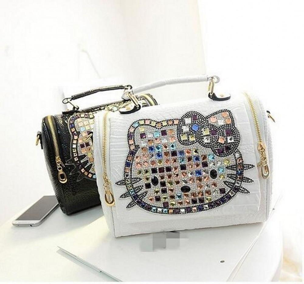 fd99d572250e 2018 Luxury women female leather hello kitty bag handbags shoulder famous  brands designers crossbody bags for