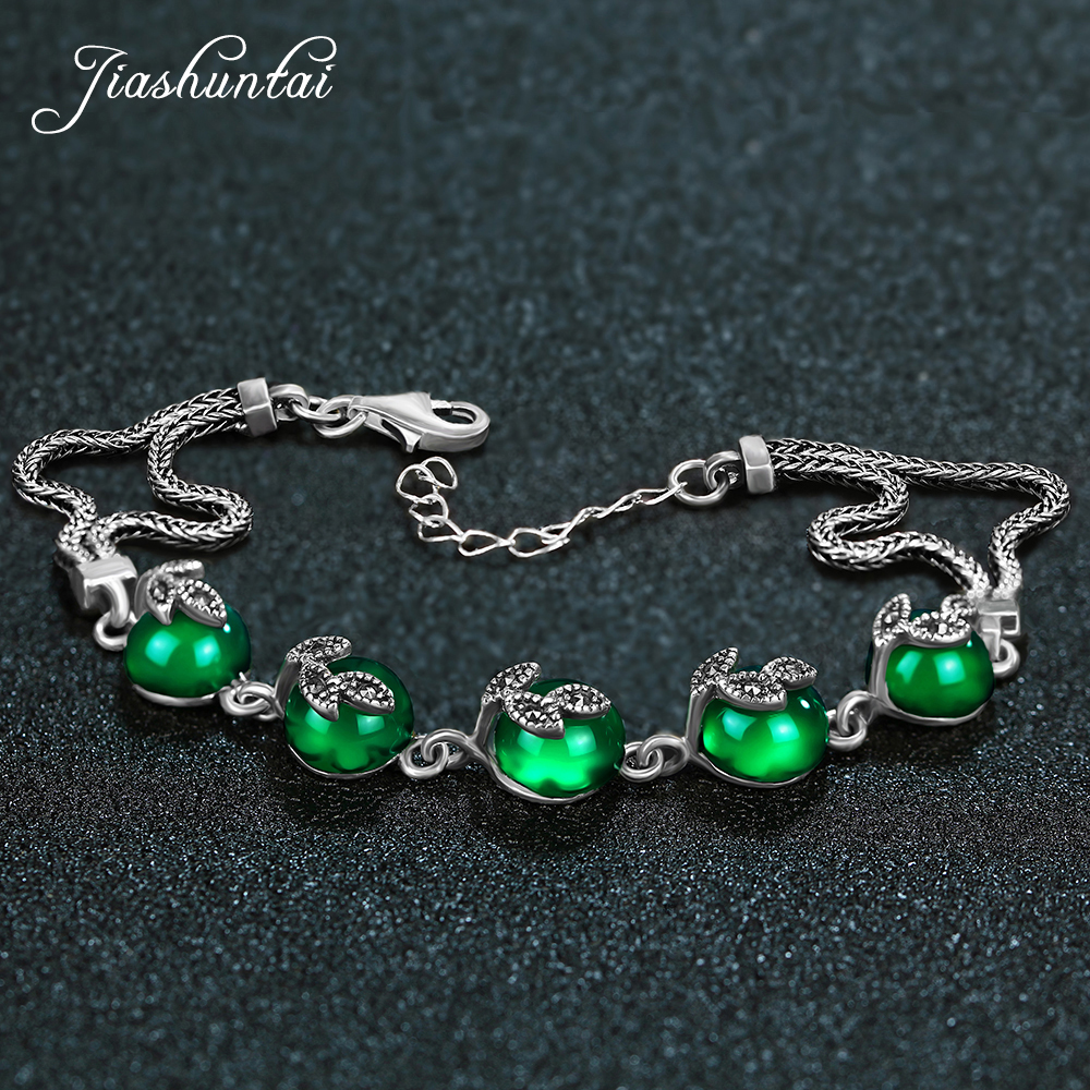 JIASHUNTAI Retro 925 Sterling Silver Bracelets For Women Green Chalcedony Agate Gemstone Thai silver Fine Jewelry ethnic wind bracelets men and women decorations green agate 925 silver ball duobao string original jewelry