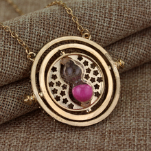 Gryffindor Time Turner Necklace Hermione Granger Rotating Spins Gold Hourglass maxi Statement Jewelry Ravenclaw Hufflepuff