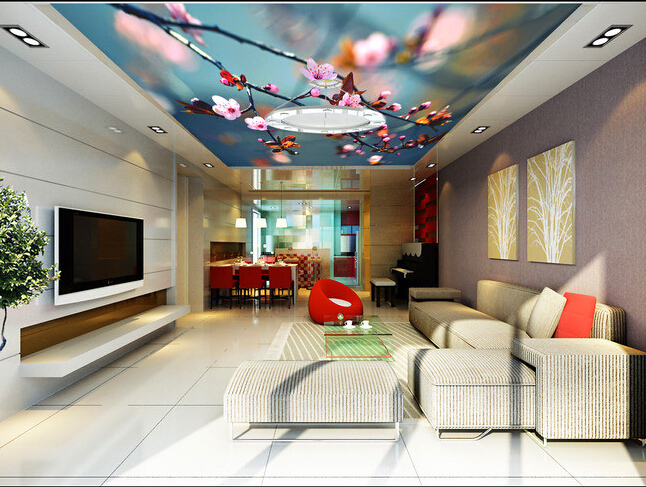 Custom wallpaper ceiling, Sakura flowers for the living room bar KTV background wall waterproof papel de parede custom 3d ceiling wallpaper beautiful sky maple murals for the living room bedroom ceiling wall waterproof wallpaper