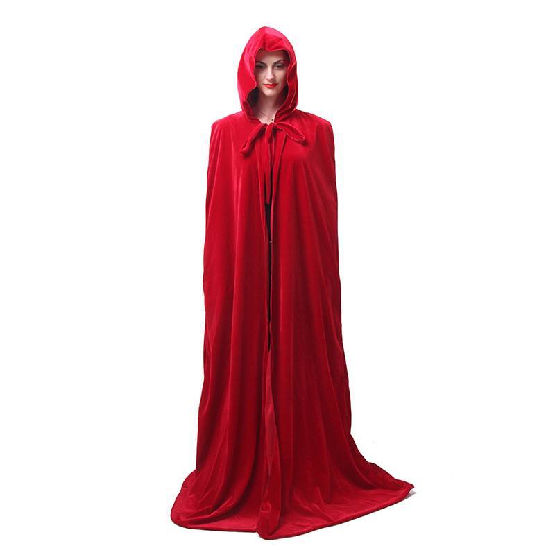Halloween Velvet Vampire Witch Cape Death Long Cape Robe Hooded Cloak Winter Warm Medieval Renaissance Cape Cosplay Costume