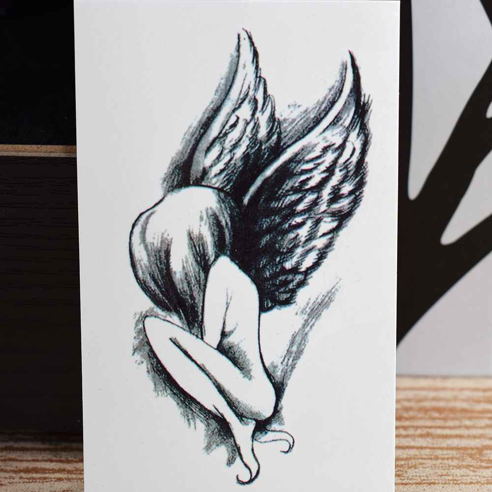 Tattoo 1 Sheet Elegant Angel Wing Girl Design Tattoo Sticker Waterproof Arm Body Art Temporary Tattoo Sticker Body Painting