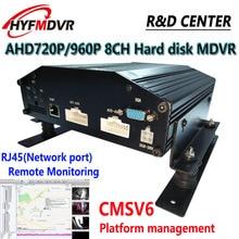 AHD960P 8-channel hard disk MDVR RJ45 remote monitoring CMSV6 platform management support 500G/1T/2T storage car hard disk video recorder supports 2t hard disk 128g memory card storage ahd4 road mdvr direct sales