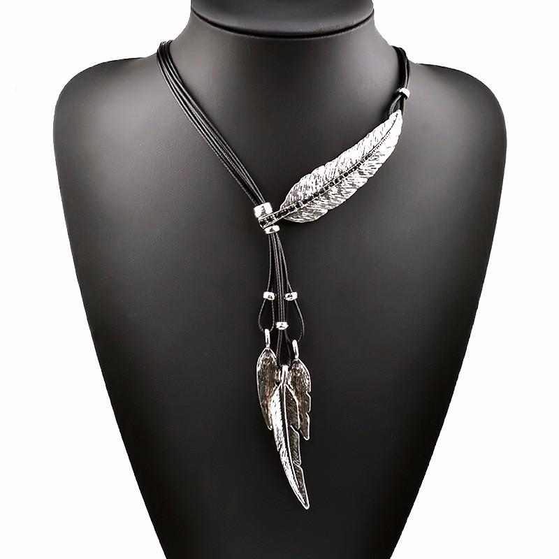 bohemian-style-black-rope-with-silver-leaf-feather-pendant-1